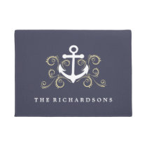 Nautical Blue with Anchor and Gold Colored Swirls Doormat
