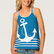 Nautical Blue with White Stripes and Anchor Design Tank Top