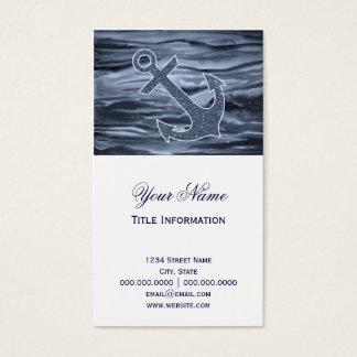 Nautical Bluish Gray Watercolor Glitter Anchor Business Card