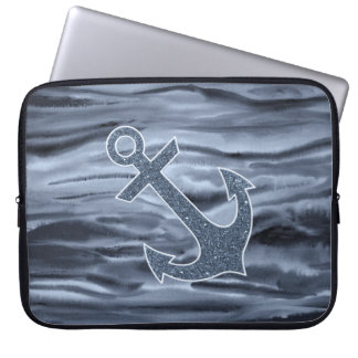 Nautical Bluish Gray Watercolor Glitter Anchor Computer Sleeve