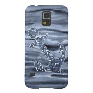 Nautical Bluish Gray Watercolor Glitter Anchor Galaxy S5 Case