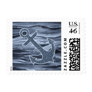 Nautical Bluish Gray Watercolor Glitter Anchor Postage