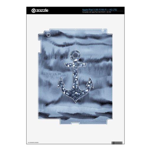 Nautical Bluish Gray Watercolor Glitter Anchor iPad 3 Decal