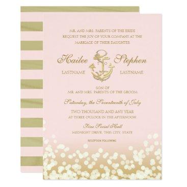 Beach Themed Nautical Blush and Gold Sparkle Wedding Card