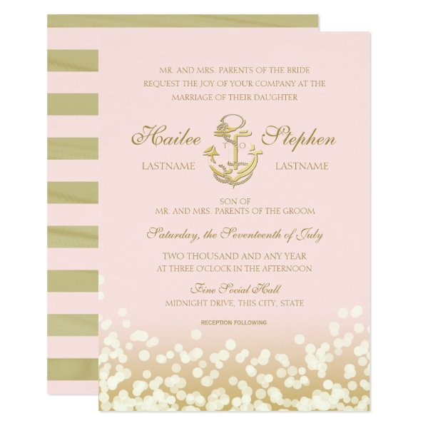 Nautical Blush and Gold Sparkle Wedding Card