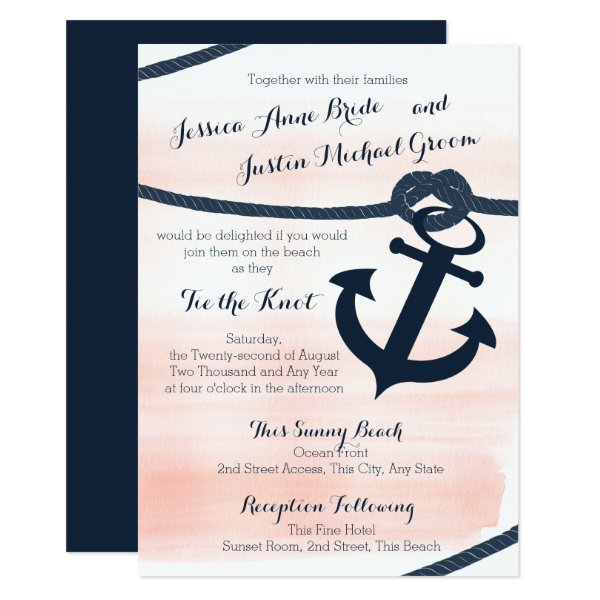 Nautical Blush and Navy Rope and Anchor Wedding Card