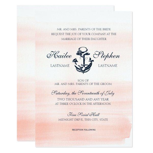 Nautical Blush and Navy Watercolor Wedding Card