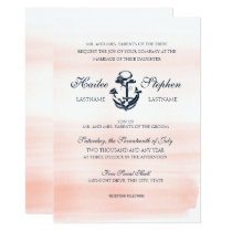 Nautical Blush and Navy Watercolor Wedding Invitation