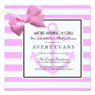 Nautical Blush Pink Anchor It's a Girl Baby Shower Card