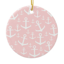 Nautical blush pink & white anchor pattern ceramic ornament
