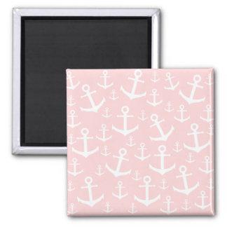 Nautical blush pink & white anchor pattern magnet