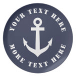 Nautical boat anchor custom melamine dinner plates
