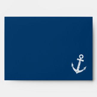 Nautical boat anchor navy blue wedding envelopes