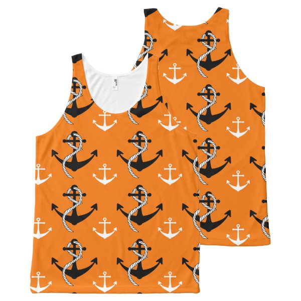Nautical Boat Anchor Pattern Beach Orange Black All-Over-Print Tank Top