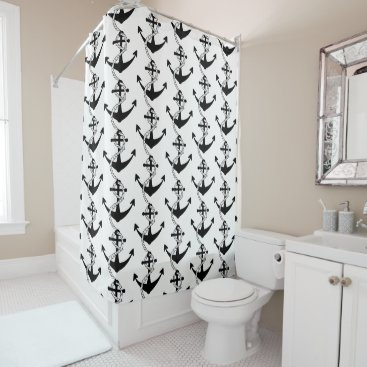 Beach Themed Nautical Boat Anchor Pattern, Black and White Shower Curtain