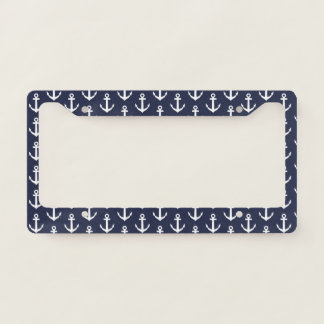 Nautical boat anchor pattern license plate frame