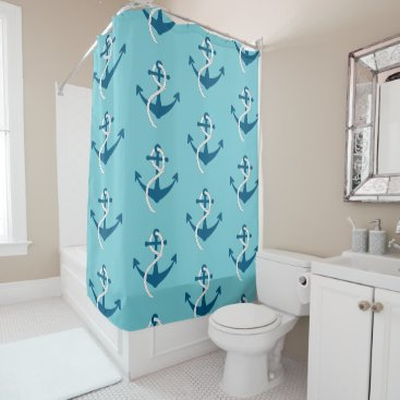 Beach Themed Nautical Boat Anchor Rope Pattern, Blue on Blue Shower Curtain