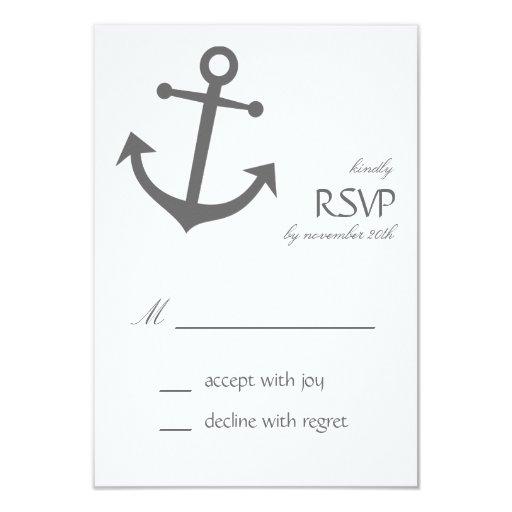 "Nautical Boat Anchor RSVP Cards (Dark Gray) 3.5"" X 5"" Invitation Card"
