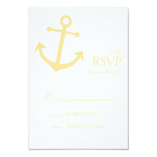 Nautical Boat Anchor RSVP Cards (Gold)