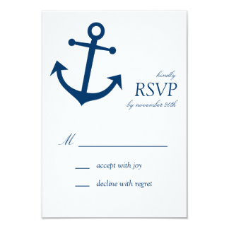 Nautical Boat Anchor RSVP Cards (Navy Blue) Custom Invites
