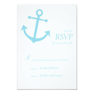 "Nautical Boat Anchor RSVP Cards (Pale Blue) 3.5"" X 5"" Invitation Card"