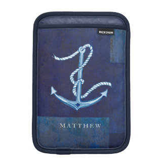 Nautical Boat Anchor, Sailing Ocean Sea Mens iPad Mini Sleeves