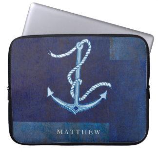 Nautical Boat Anchor, Sailing Ocean Sea Mens Laptop Computer Sleeves