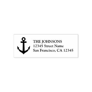 Nautical boat anchor self inking address stamps