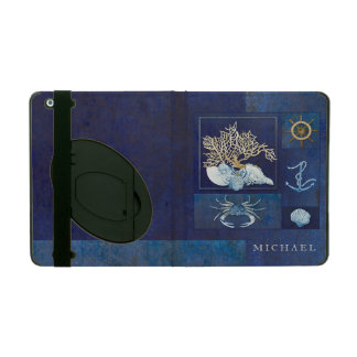 Nautical Boat Anchor Ships Wheel Sea Shells Crab iPad Cover