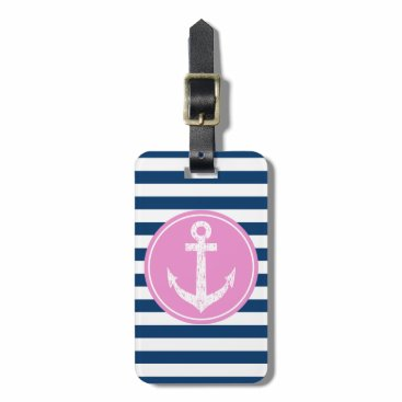 Nautical boat anchor striped travel luggage tags