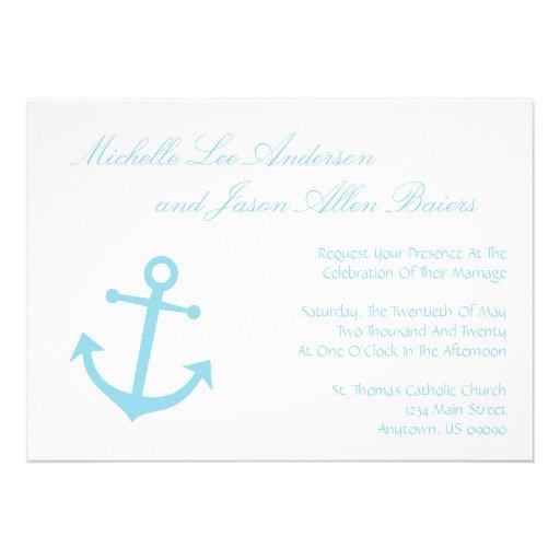 Nautical Boat Anchor Wedding Invitations Pale Blue