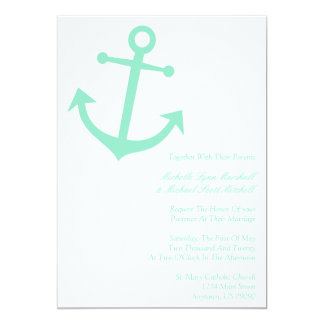 Nautical Boat Anchor Wedding Invites (Pale Green)