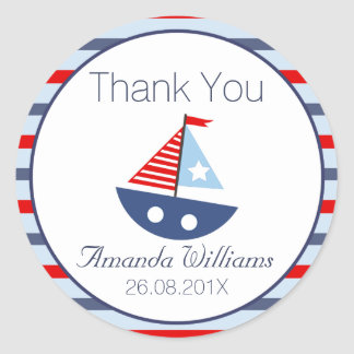 Nautical Boat Baby Shower Favor Sticker