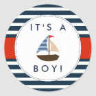 Nautical Boat Baby Shower Stickers - It's A Boy!