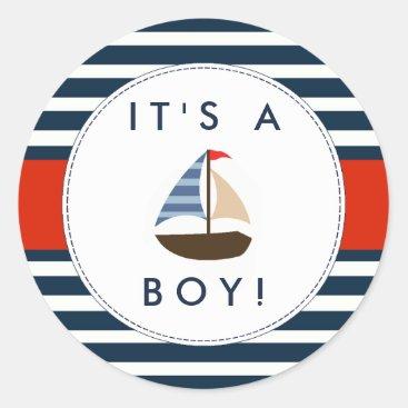 Invitation_Republic Nautical Boat Baby Shower Stickers - It's A Boy!