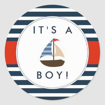 Invitation_Republic Nautical Boat Baby Shower Stickers - It's A Boy!