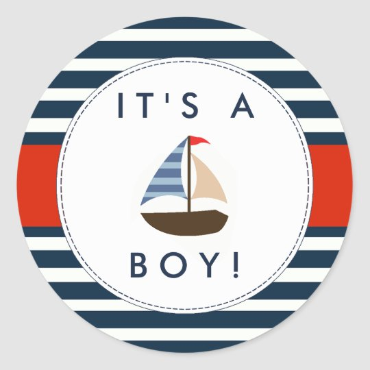 Nautical Boat Baby Shower Stickers - It's A Boy! | Zazzle.com