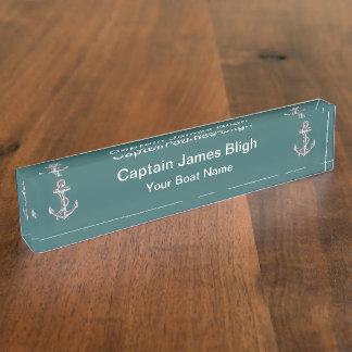 Nautical Boat Captain Desk Name Plates