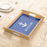 Nautical Boat Name Anchor Blue Serving Tray