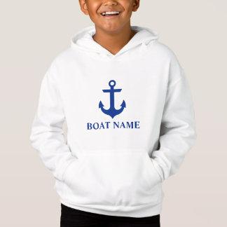 Nautical Boat Name Anchor Kids Hoodie