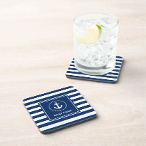 Nautical Boat Name Anchor Navy Blue Striped Beverage Coaster