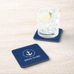 """Nautical Boat Name Anchor Rope Navy Blue Beverage Coaster<br><div class=""""desc"""">Nautical Boat Name Anchor Rope Navy Blue Coaster</div>"""