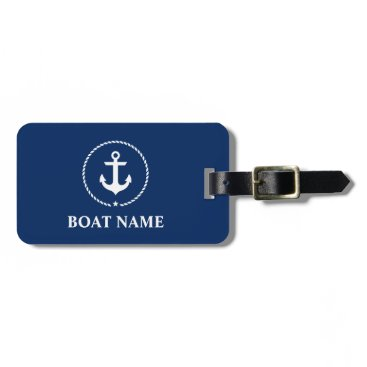 Nautical Boat Name Anchor Rope Navy Blue Luggage Tag