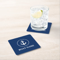 Nautical Boat Name Anchor Rope Navy Blue Square Paper Coaster