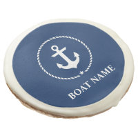 Nautical Boat Name Anchor Rope Navy Blue Sugar Cookie