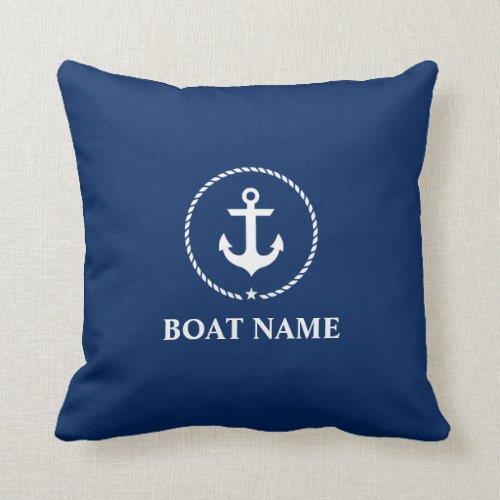 Nautical Boat Name Anchor Rope Navy Blue Throw Pillow
