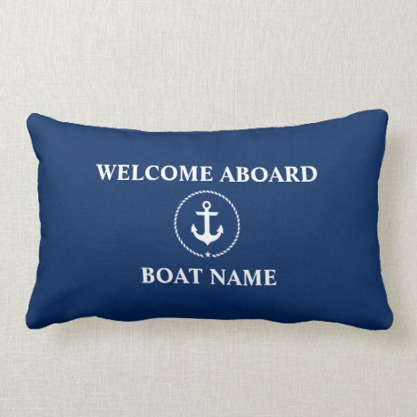 Nautical Boat Name Anchor Rope Navy Blue Welcome Lumbar Pillow