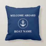 "Nautical Boat Name Anchor Rope Navy Blue Welcome Throw Pillow<br><div class=""desc"">Nautical Boat Name Anchor Rope Welcome Aboard Throw Pillow Navy Blue</div>"