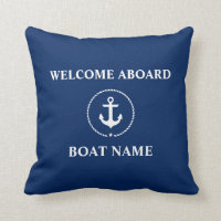 Nautical Boat Name Anchor Rope Navy Blue Welcome Throw Pillow