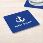 "Nautical Boat Name Anchor Star Blue Square Paper Coaster<br><div class=""desc"">Nautical Boat Name Anchor Star Blue Coaster Square</div>"